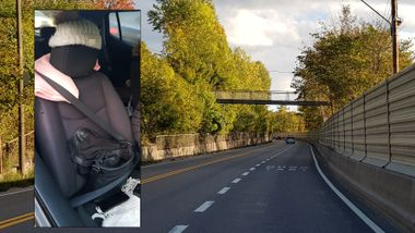 Denne «passasjeren» ble ikke godkjent. Sjåføren fikk 5500 i bot.