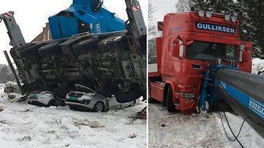 Biler knust etter kranvelt - lastebilsjåfør klarte så vidt å rygge unna