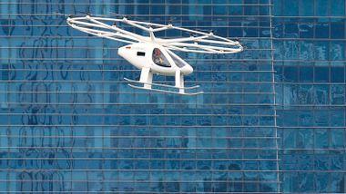 Her er «dronetaxien» for første gang i luften over et bysentrum