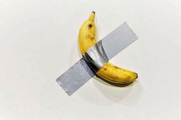 Dette er en banan klistret til veggen med tape. Den ble solgt for 1,1 millioner kroner.